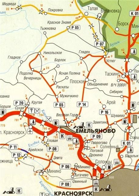 Карта района маршрута